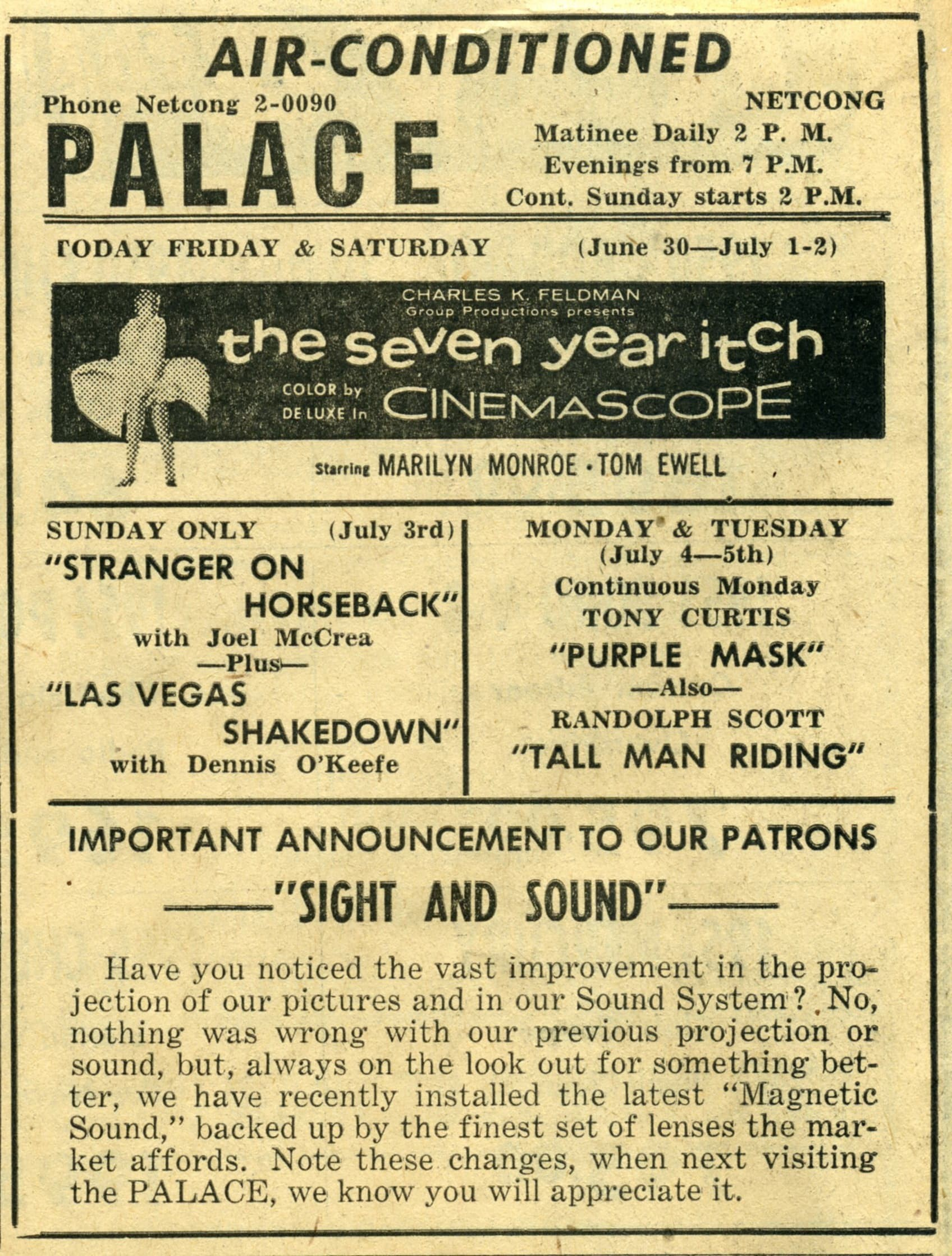 A 1955 ad highlighting the theatre's air conditioning.