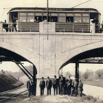 Morris County Traction Company personnel celebrate opening of the trolley line to Landing in 1908.
