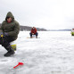 Ausra Grudiene from Moorisville, PA, braves the cold for a day of ice fishing in Lake Hopatcong recently.