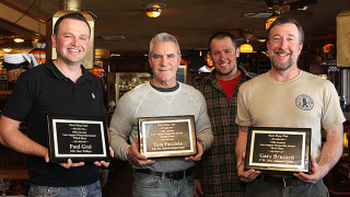 The winners of the 2013 Knee Deep Club Leo August Awards. Third place winner Paul Grel, second place winner Tom Facciola, Ed Mackin, KDC president, and first place winner Gary Bruzad.