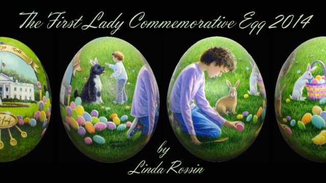 Multiple views of the 2014 commemorative Easter Egg by artist Linda Rossin which was recently presented to First Lady Michelle Obama.