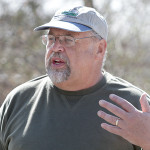 Local historian Cliff Lundin leads visitors along the Rowland May Eves Inlet Sanctuary/Highlands Trail, Saturday, April 26.