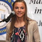 Danielle Beniulis, a Jefferson Township High School senior accepts the Doris Roberts business Scholarship award at the annual Jefferson Township Chamber of Commerce Awards Dinner, Thursday, April 24.