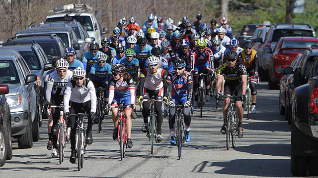 Riders in the 40-mile loop of the 2014 Cycle Craft Tour de Lake race head out from the starting line on North Glen Avenue in Mount Arlington, Saturday, April 19.
