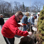 Hopatcong Evironmental Commission volunteer Jerry Scanlan pulls a sycamore seedling from a bag for a resident as part of the Tree Recovery Campaign hosted by the commission, Saturday, April 19.