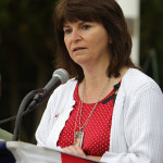 Dawn Roberts, mother of fallen soldier Sgt. Michael Kirspel, Jr., addresses the crowd at Hopatcong's Memorial Day Ceremony, Saturday, May 24.
