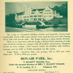 An advertisement showing the original 1924 Bon Air Lodge plans. A smaller hotel was actually built.