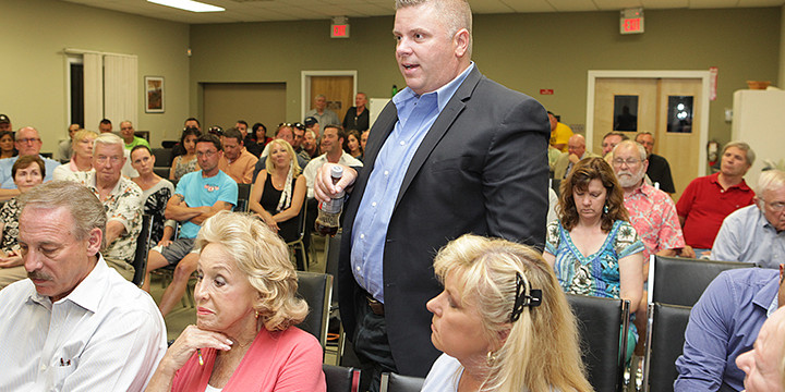 Jason Cromley, center, speaking at the Lake Hopatcong Commission meeting, Monday.