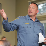 Sgt. Guy Stankiewicz from the NJ State Police barracks on Lake Hopatcong, speaking at the Lake Hopatcong Commission meeting, Monday.