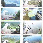A series of photos, taken over a two-week period, shows a blue-green algae bloom in Crescent Cove.