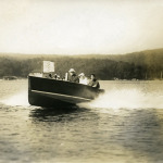 Rex Beach in his hydroplane Greta in circa 1915.