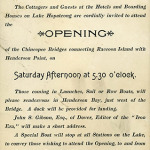 Announcement for the opening of the Chincopee Bridge.