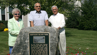 Vicki D'Agostino, long-time Bertrand Island concessionaire Pat DiMarino and Ray D'Agostino at the dedication of Bertrand Island Park plaque in September 2008, the 25th anniversary of the park's closing.