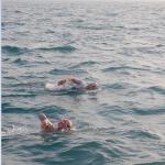 Bridgette Hobart Janeczko swimming the English Channel with Lisa DeLaurentis.