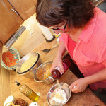 Chef Barbara Simmons prepares the dressing.