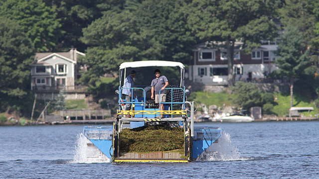 Mike Calderio, supervisor for the Lake Hopatcong weed harvesting program, on board one of the large harvesters.