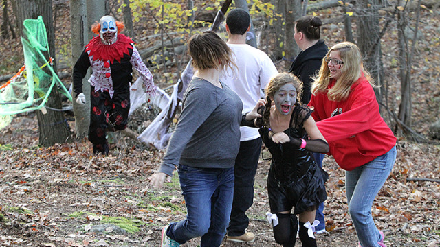 The Van Dine family gets a scare while participating in the Zombie Walk at the Lake Hopatcong Elks lodge.