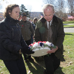 Kathy Brandes, mother of fallen soldier Sgt. Gene Robert Brandes, Jr., lays a remembrance wreath with Congressman Rodney Frelinghuysen.