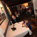 Corine Borrero enjoys a bowl of soup with her son Owen.