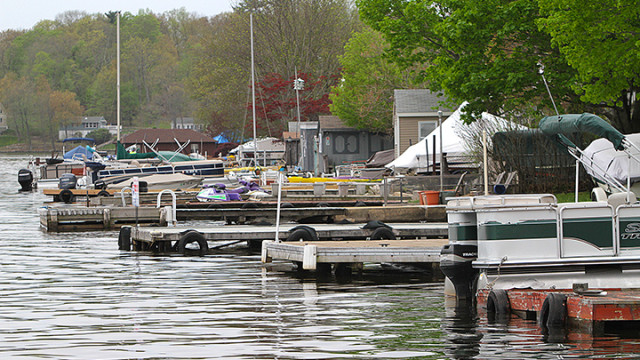 Docks along South Lakeside Avenue in Jefferson stretch out into Lake Hopatcong.