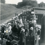 Passengers wait for a train to arrive at the old Lake Hopatcong Station, called a 'siding,' circa, 1905.