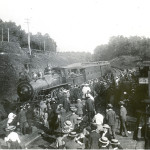 Train arrives at the old Lake Hopatcong Station, called a 'siding,' circa, 1905.